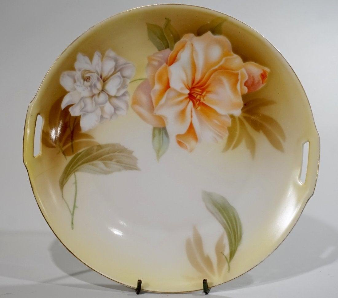 RS Germany Cake Plate Two Handle Platter Floral Design