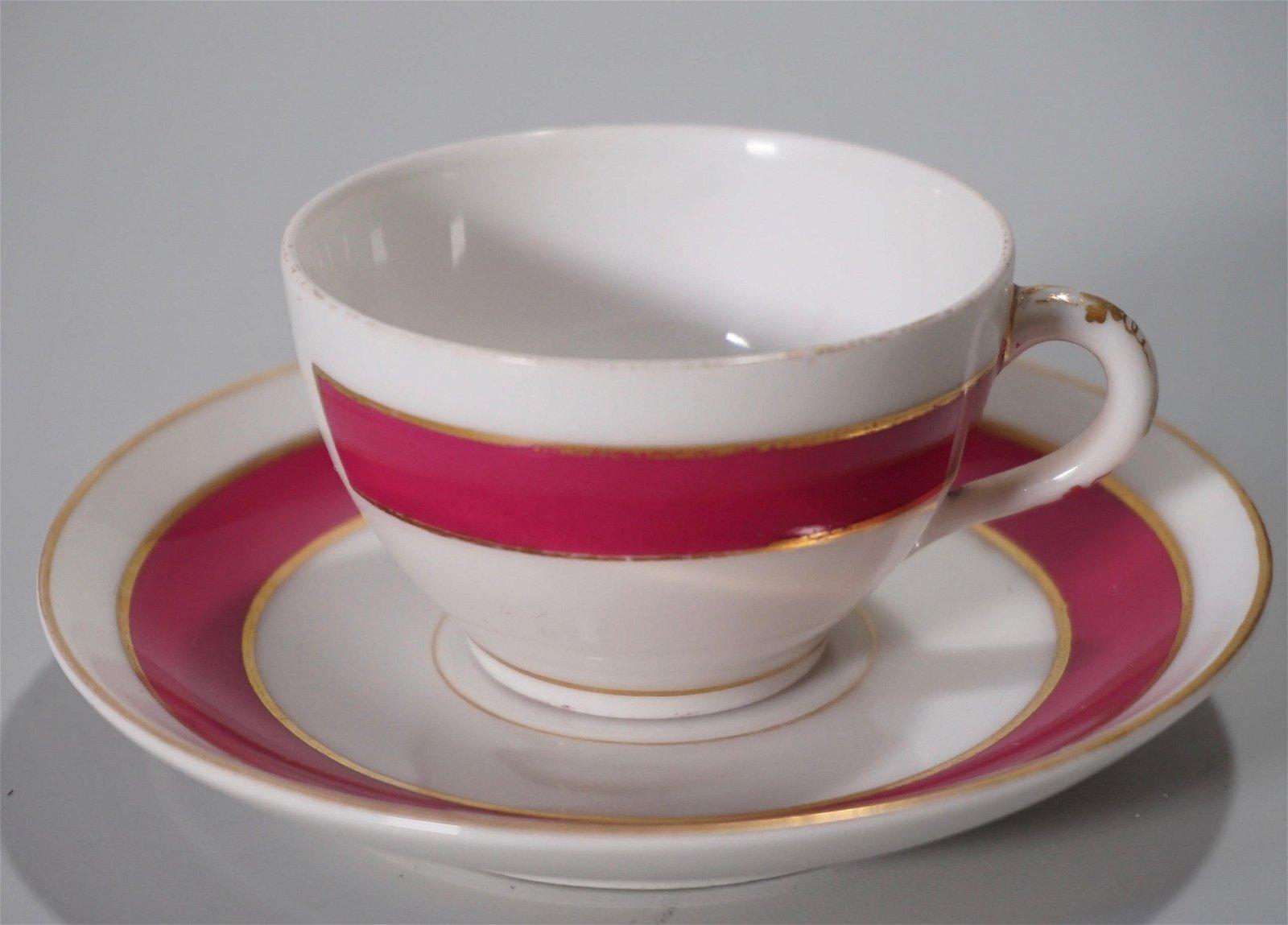 Initialed Vintage Porcelain Demitasse Cup & Saucer Set