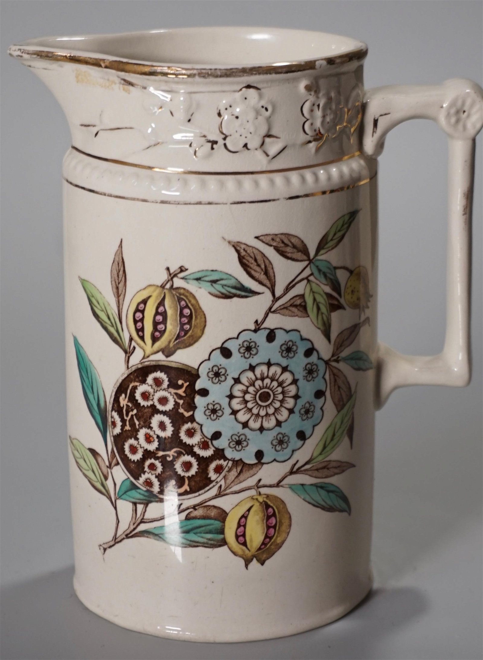 Victorian Aesthetic Dresden Pattern Ceramic Pitcher