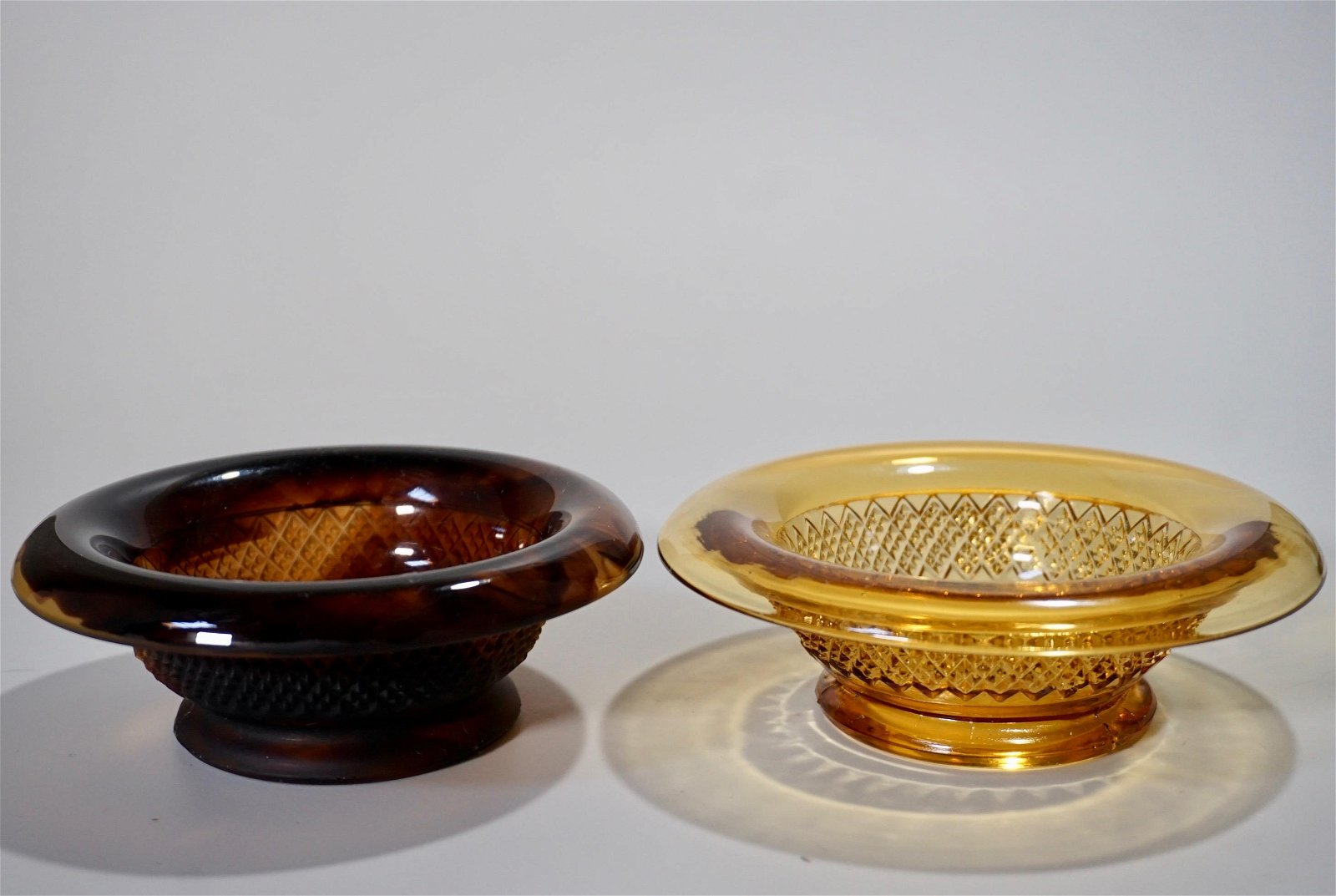 Vintage Davidson Cloud Amber Glass Dishes Lot of Two