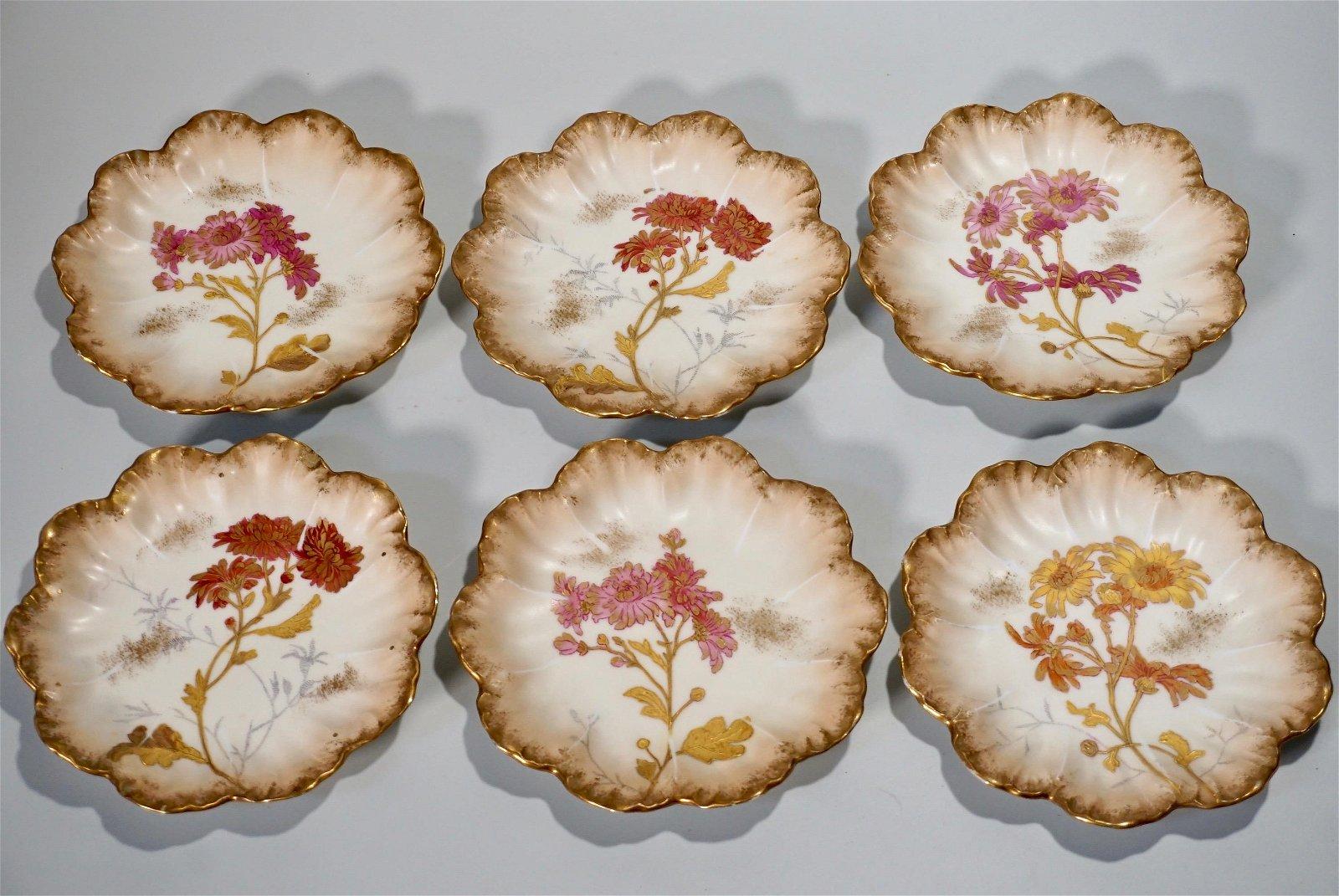 Antique Limoges Porcelain Plate Lot of 6 French Floral