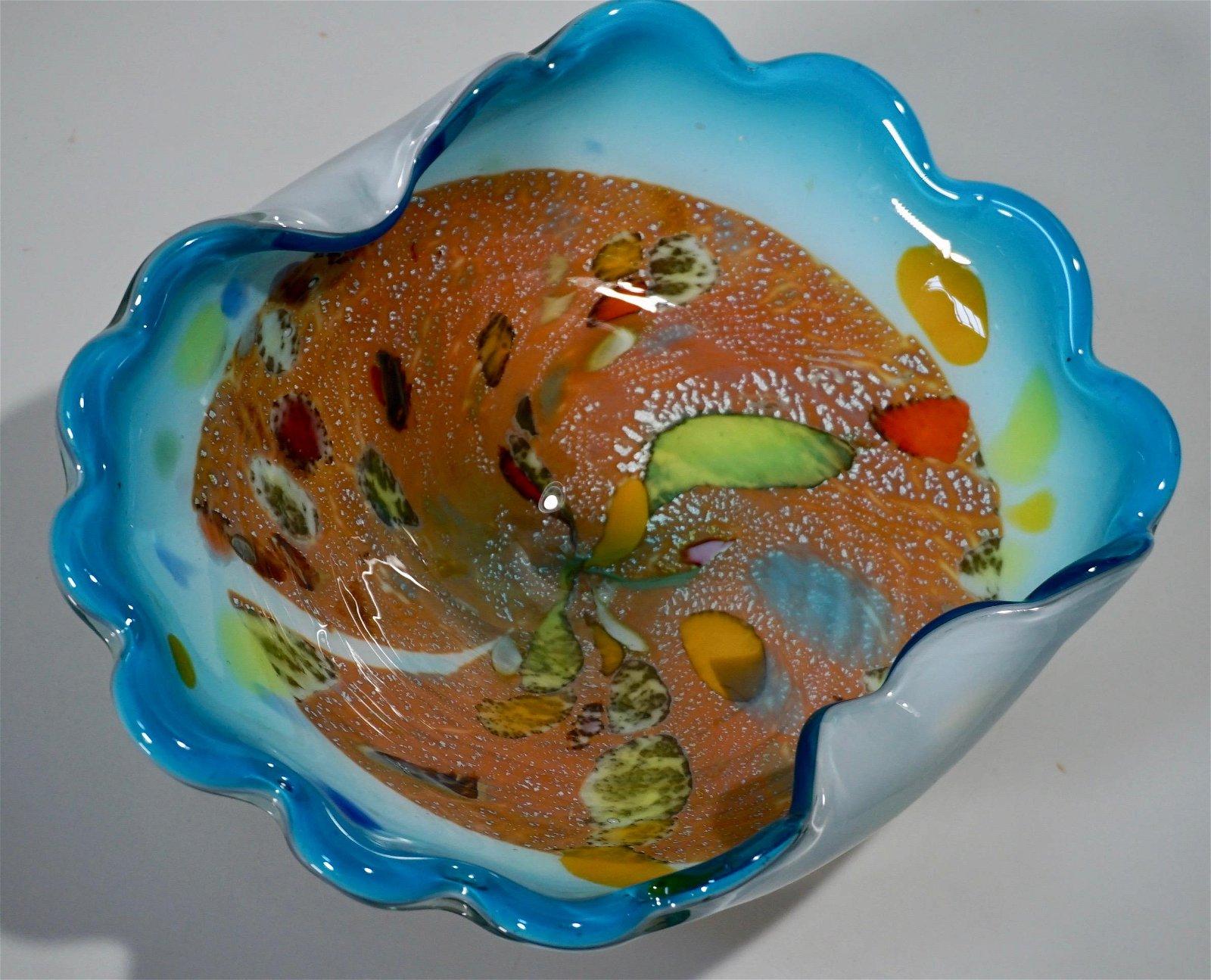 Italian Venetian Confetti Bowl Silver Specks Colorful