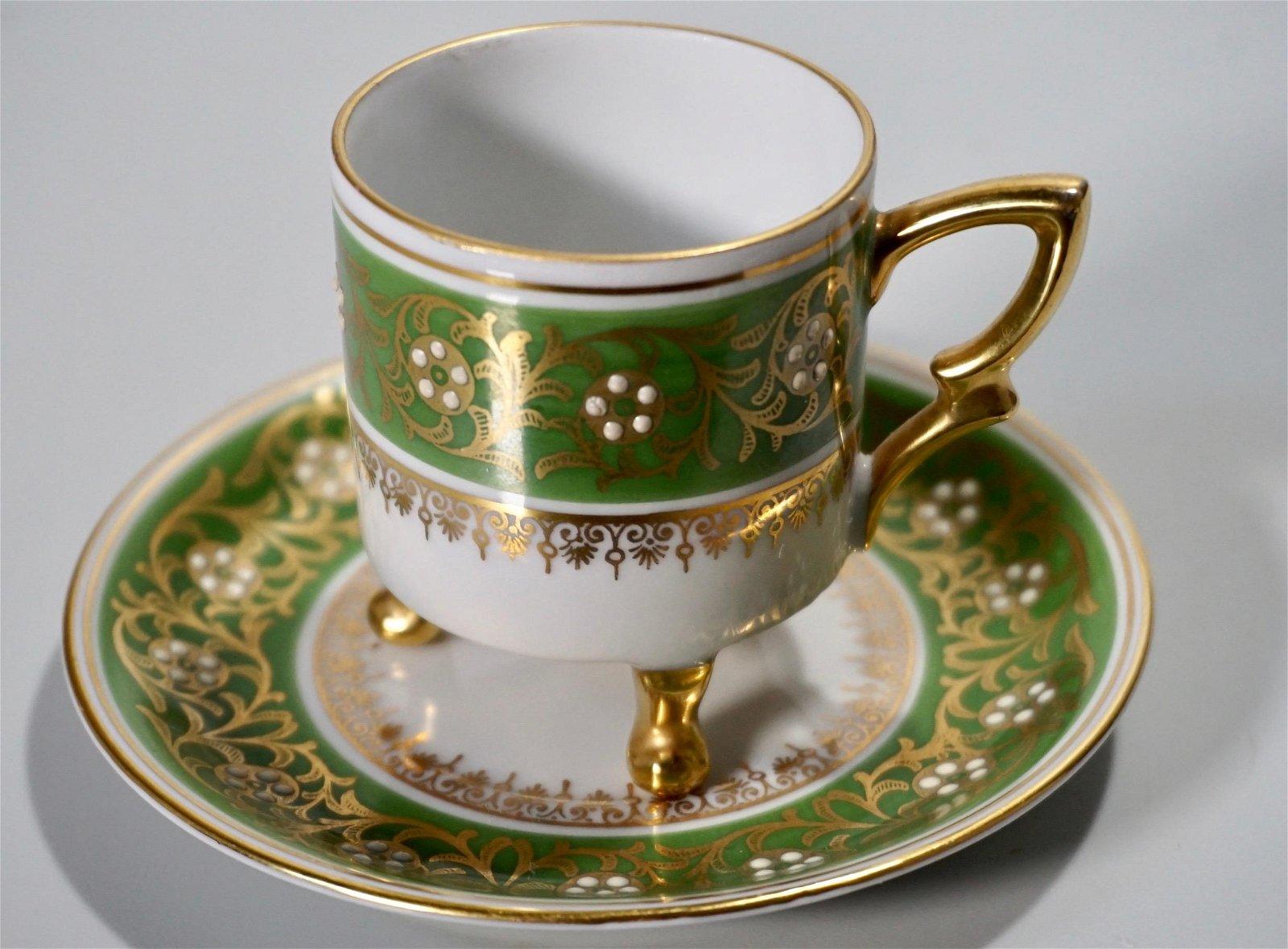 Mitterteich Green Jeweled German Bavarian Demitasse Cup