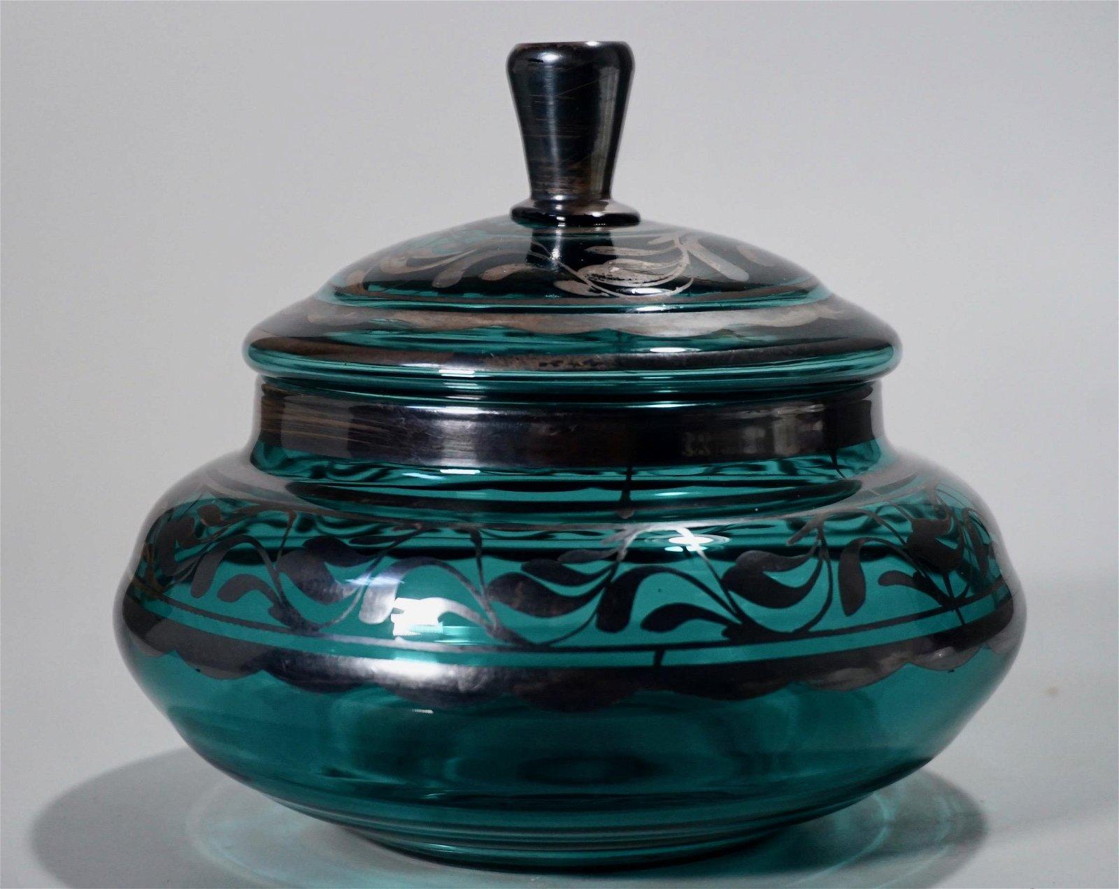 Silver Overlay Vintage Art Glass Box Lidded Bowl
