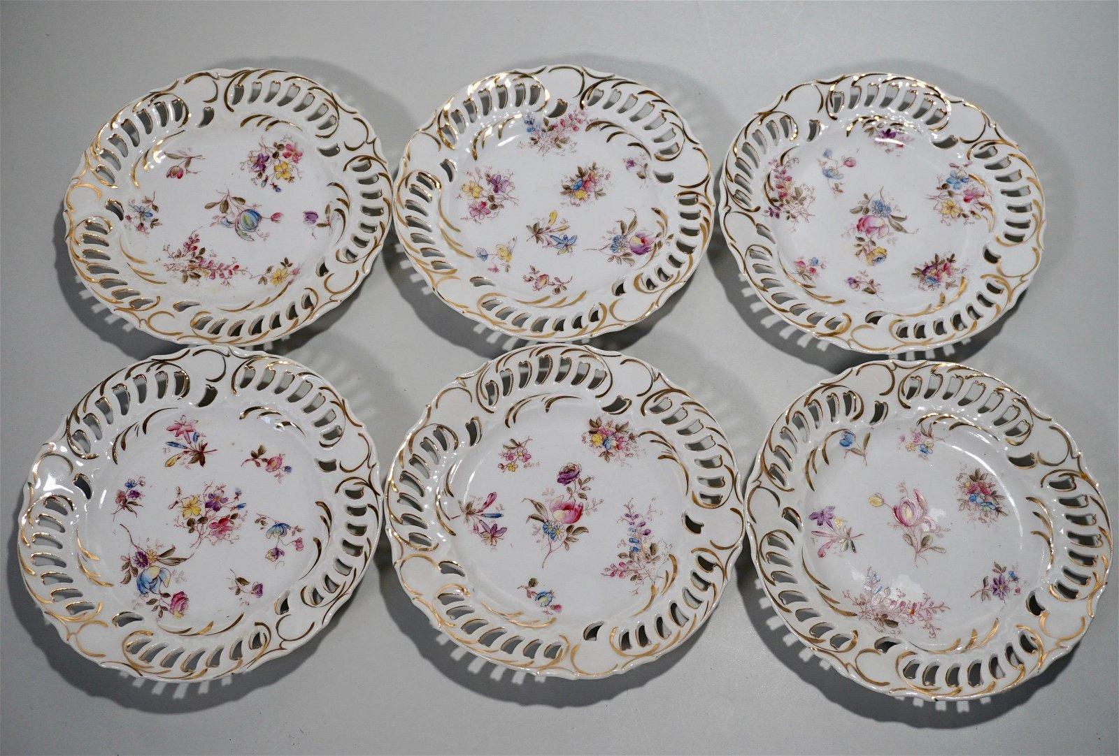 Antique Pierced Porcelain Plate Lot of 6 Plates Circa
