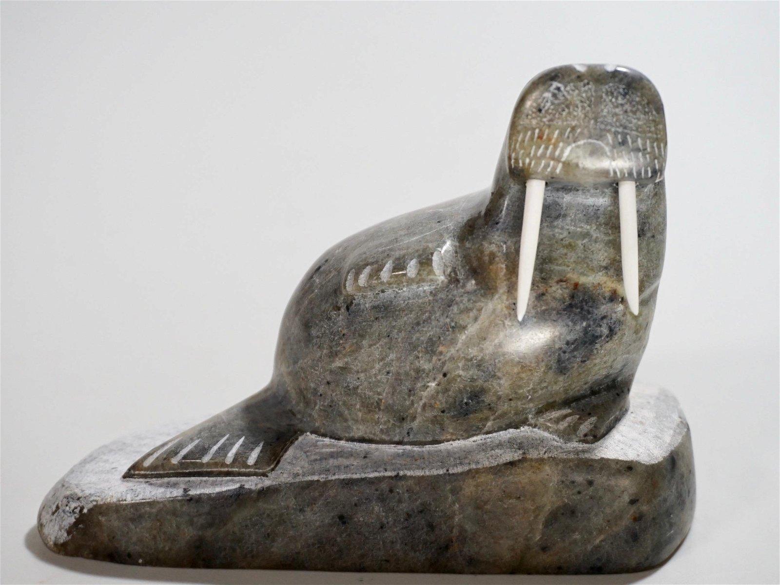 Inuit Eskimo Carved Stone Walrus Figurine