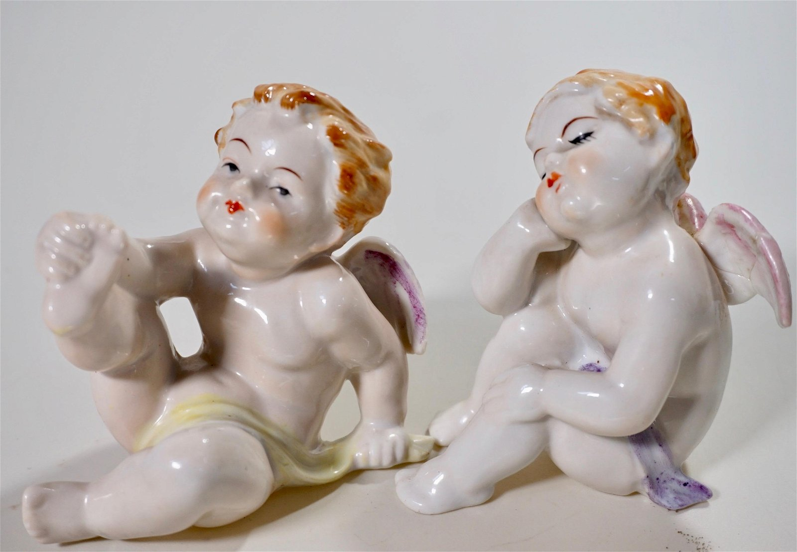 Porcelain Angel Putti Figurine Lot 2 Vintage Figurines