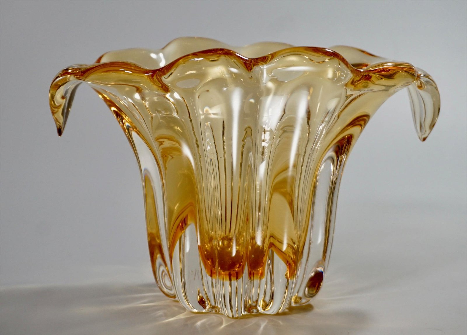 Yellow Art Glass Blown Vase Polished Pontil Mid Century