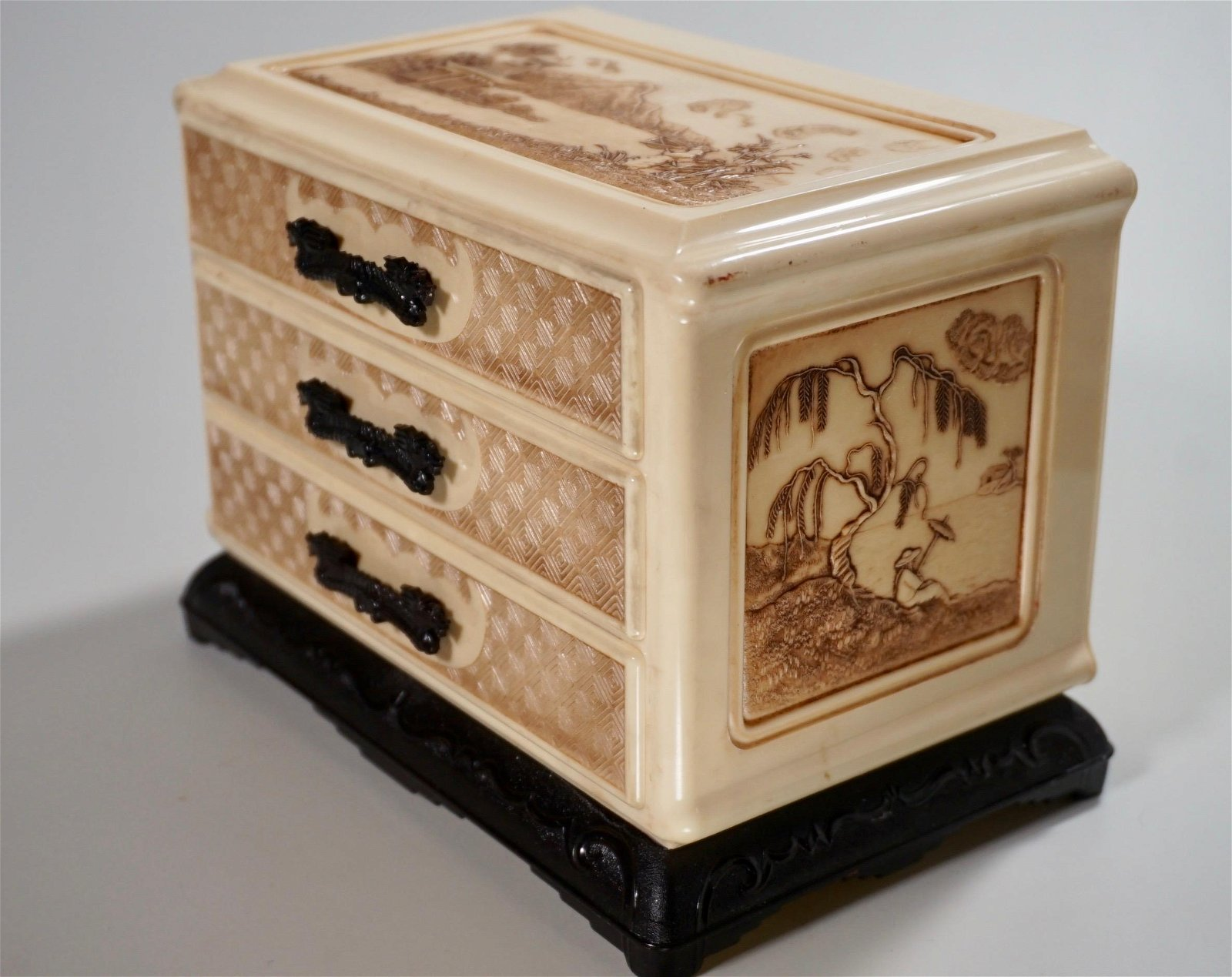 Japanese Faux Ivory Vintage Jewelry Box
