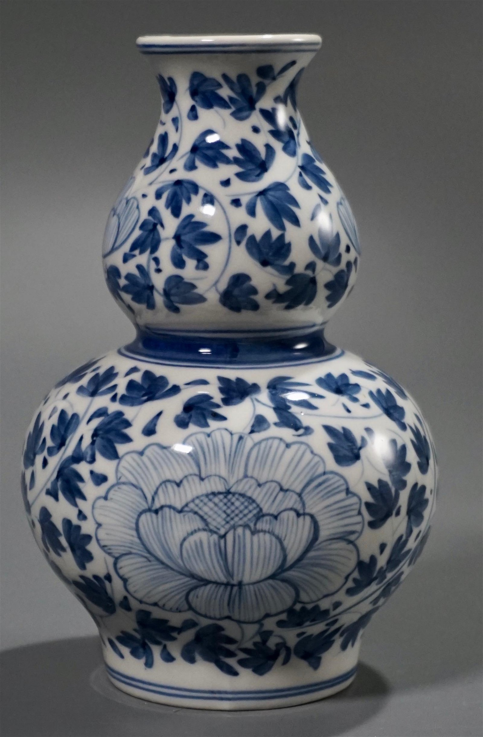 Oriental Gourd Shaped Blue White Hand Painted Porcelain