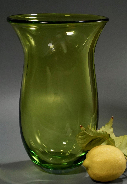 Large Green Art Glass Flower Vase Mid Century c1970