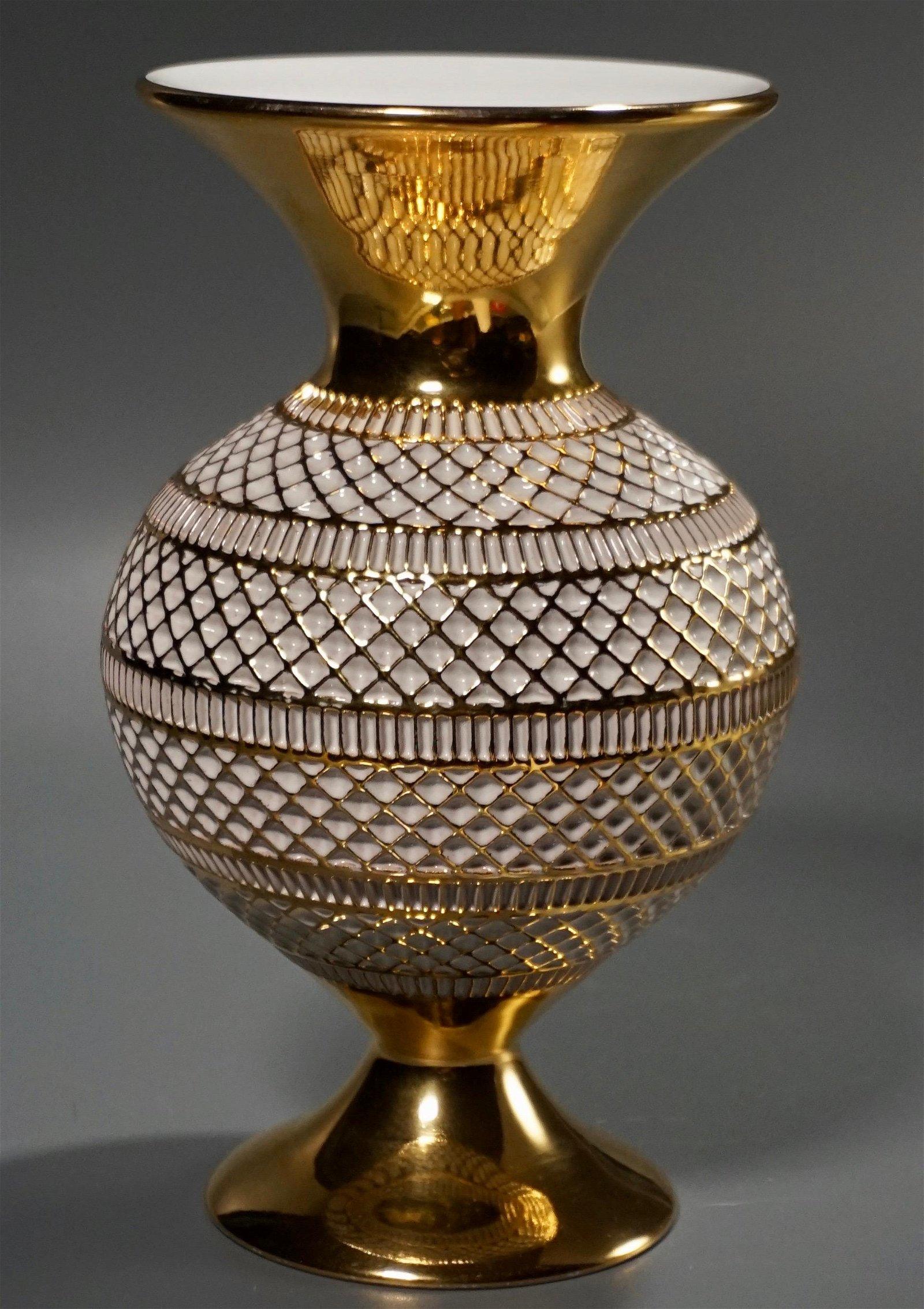 Italian Florentine White Gold Modern Pottery Vase
