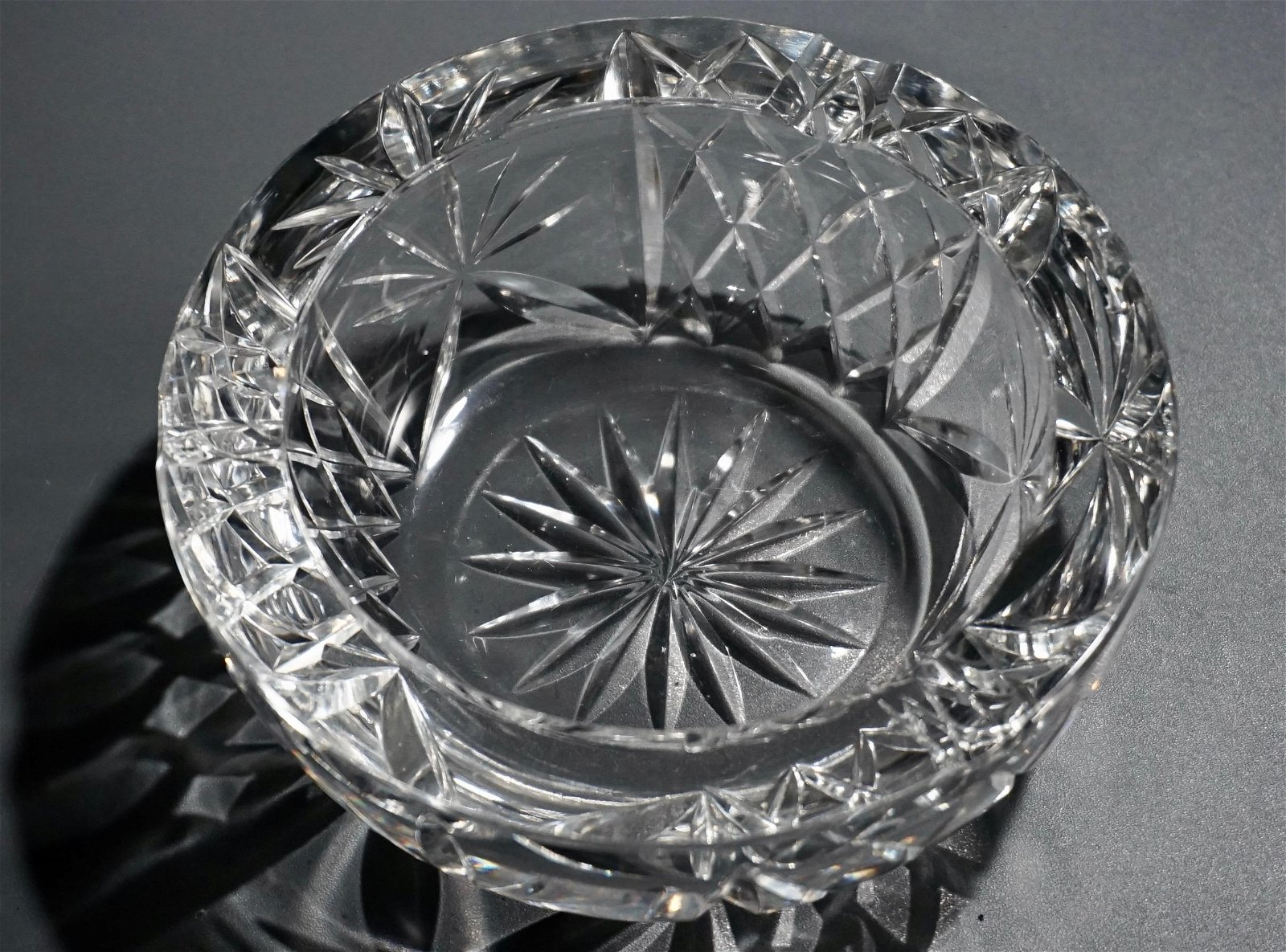 Thick Heavy Cut Crystal Ashtray