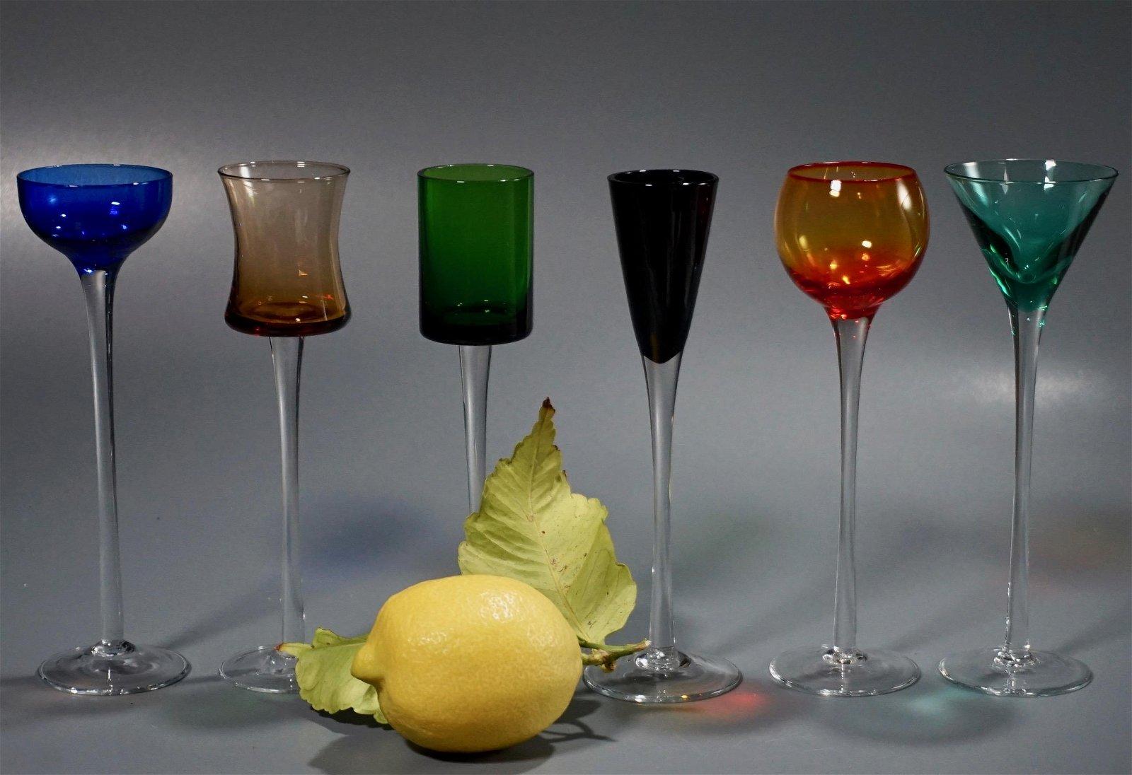 Elegant Colorful Cordial Stemware Liqueur Glasses Lot