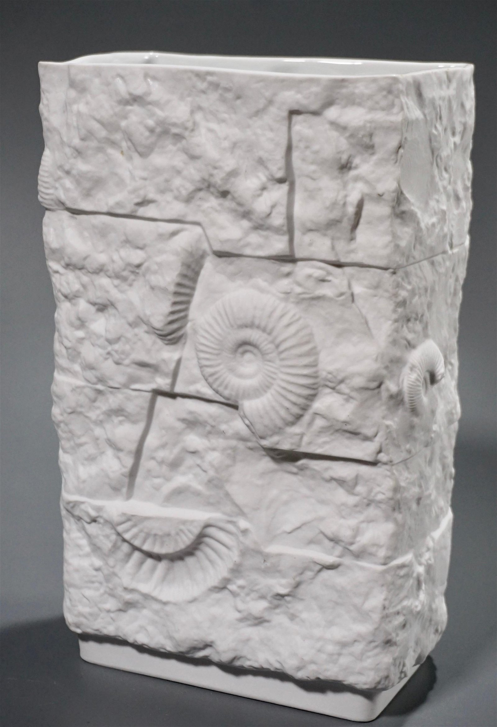 German Kaiser Withe Bisque Porcelain Fossil Shell Vase