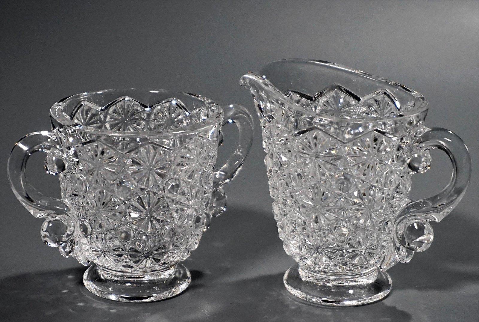 Vintage EAPG Pattern Glass Creamer and Sugar Set