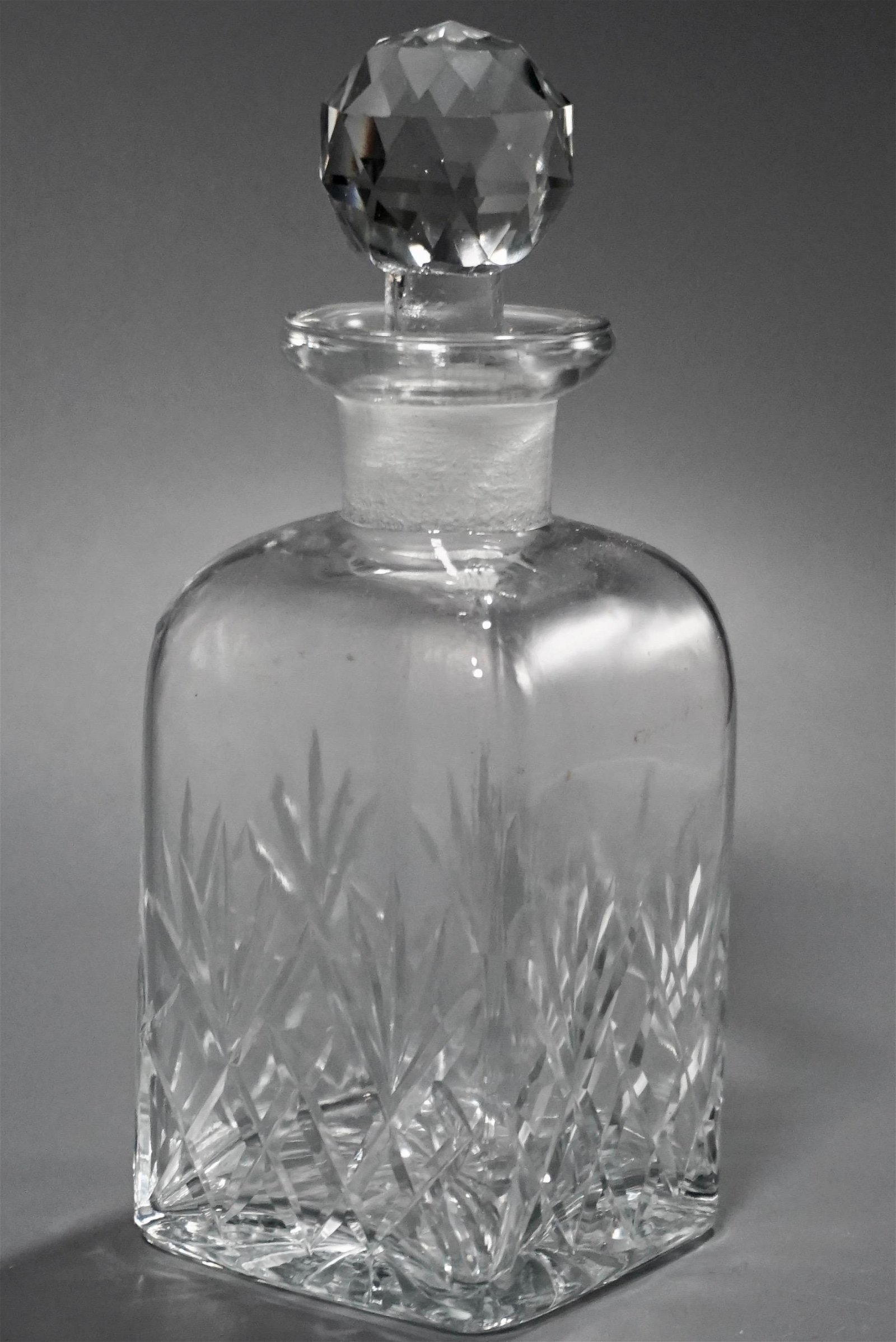Cut Glass Vanity Perfume Bottle Faceted Ground Stopper