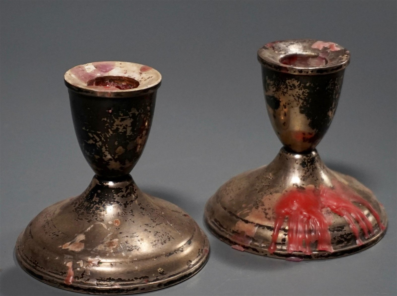 Pair Weighted Sterling Silver Candle Holders