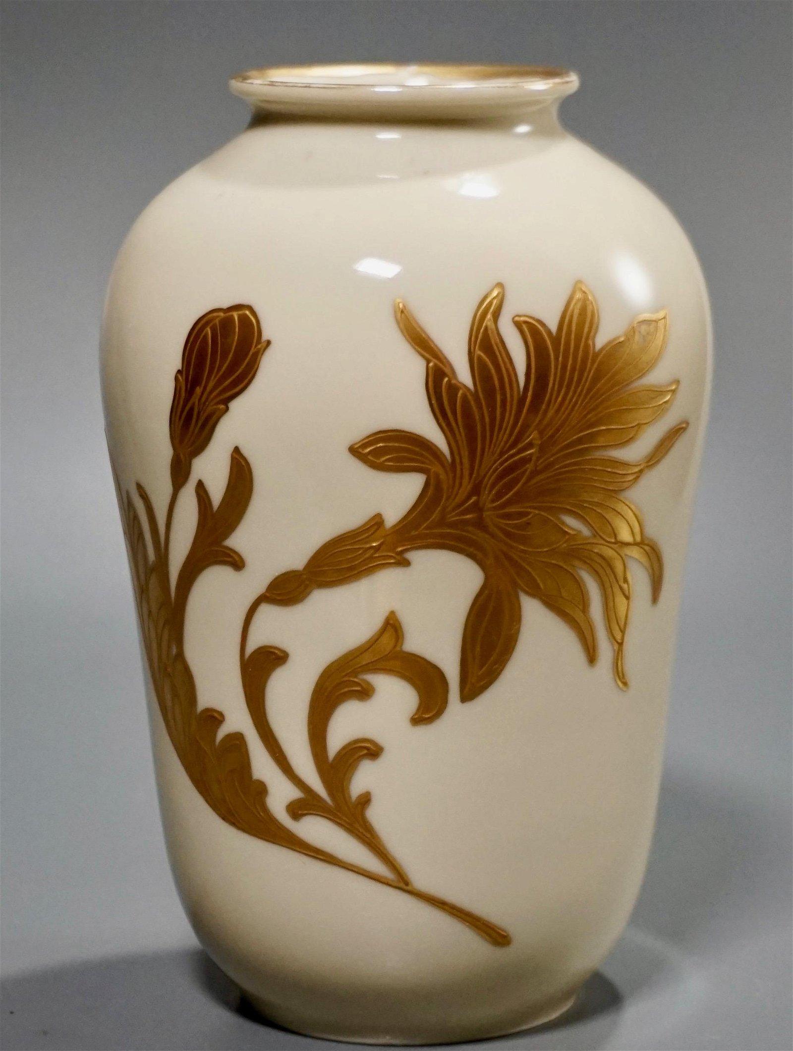 Roloff Gold on Ivory Porcelain Vase Hand Vintage