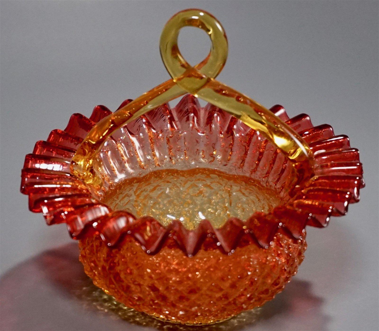 Amberina Cranberry Art Glass Bride Basket Blown Pontil
