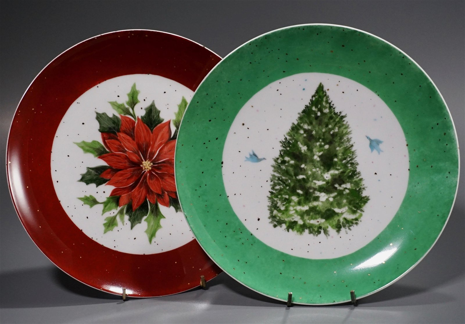 Christmas Plates Signed Hardy Lot of 2 Poinsettia