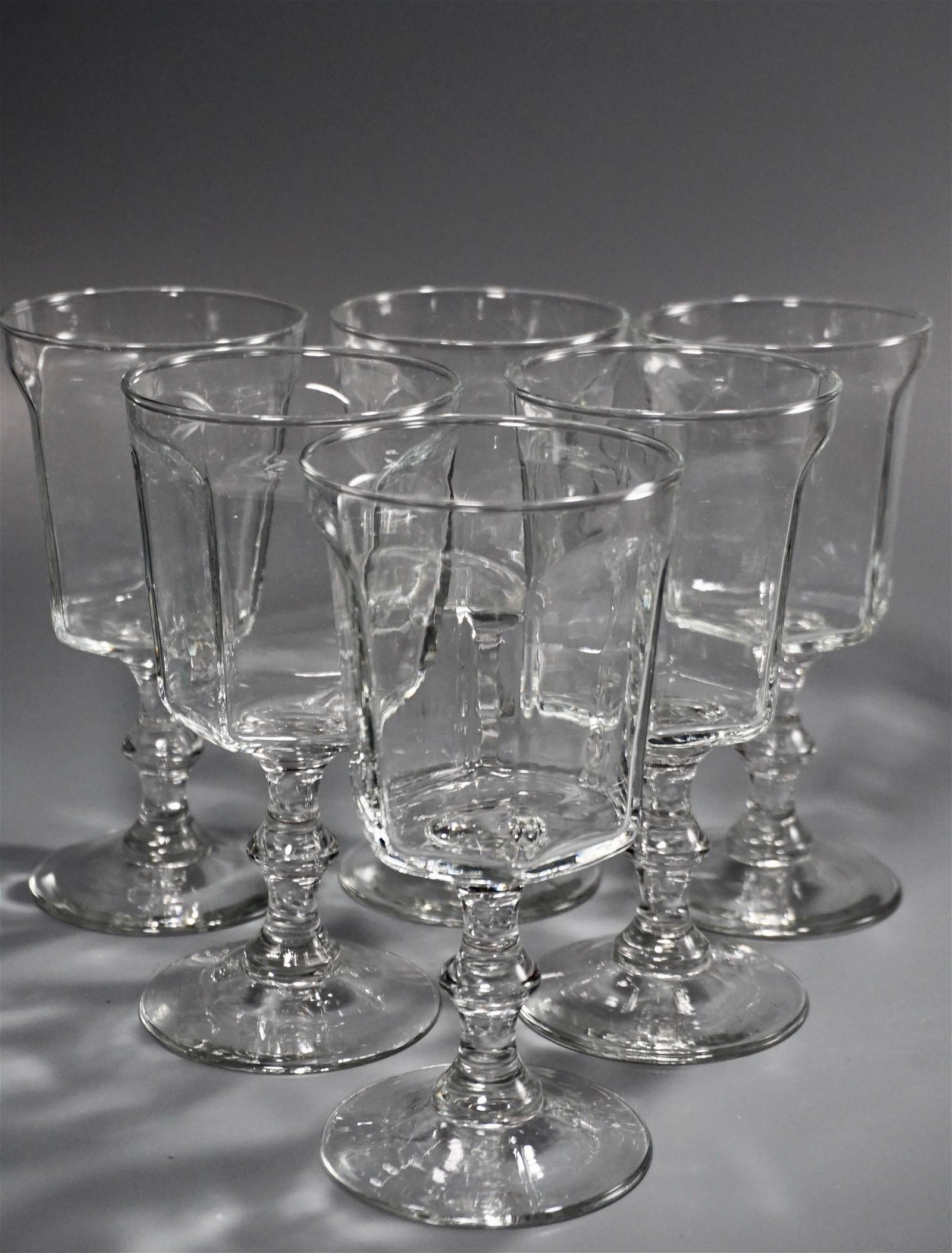 Paneled Glass Goblets Lot of 6 Clear Wine Water Glasses