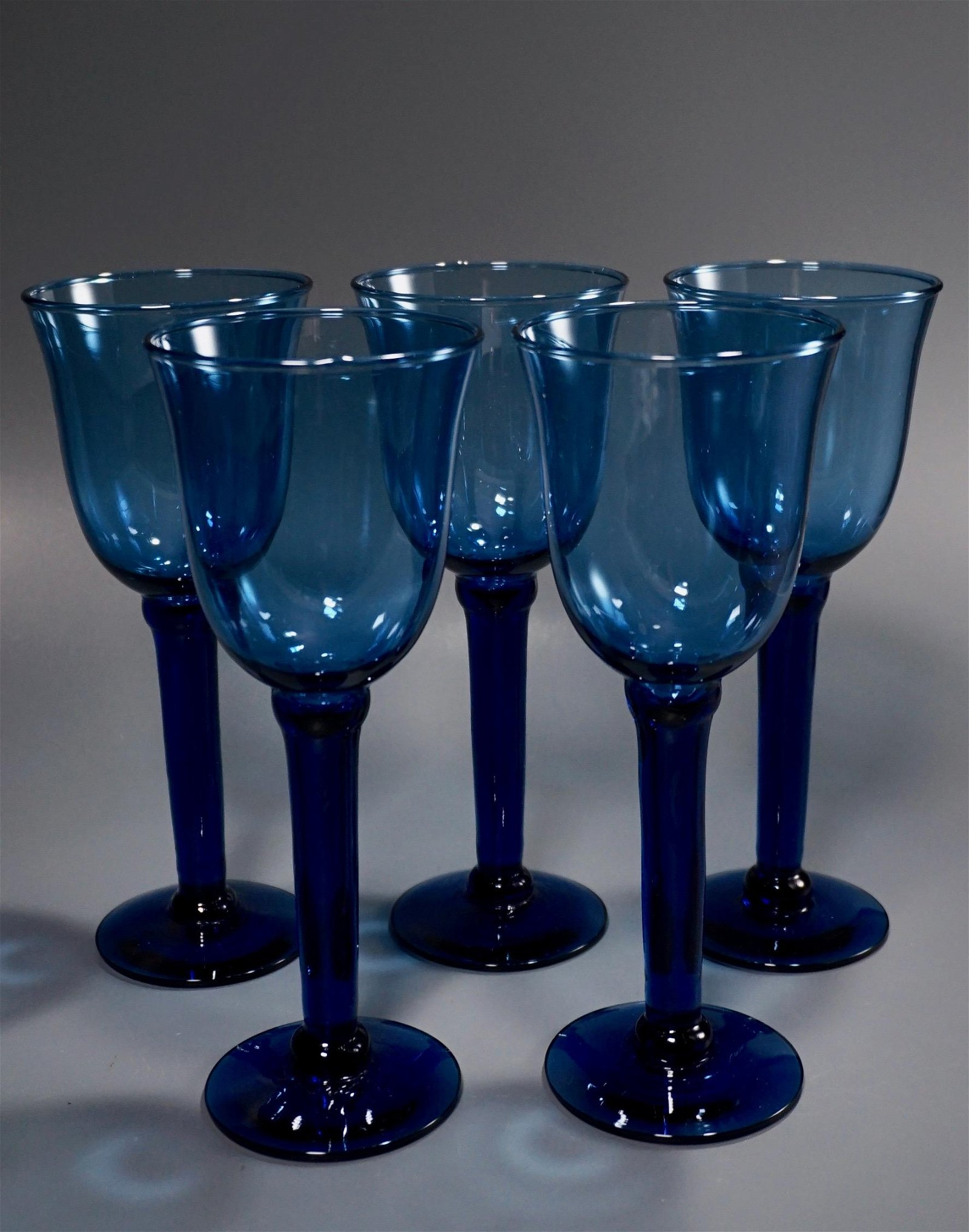 Large Blue Glass Goblets Lot of 5 Wine Water Retro