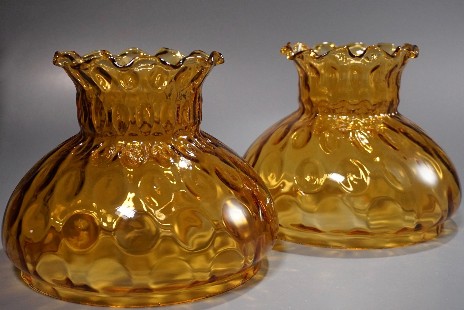 Amber Glass Kerosine Oil Lamp Shade Pair Lampshades