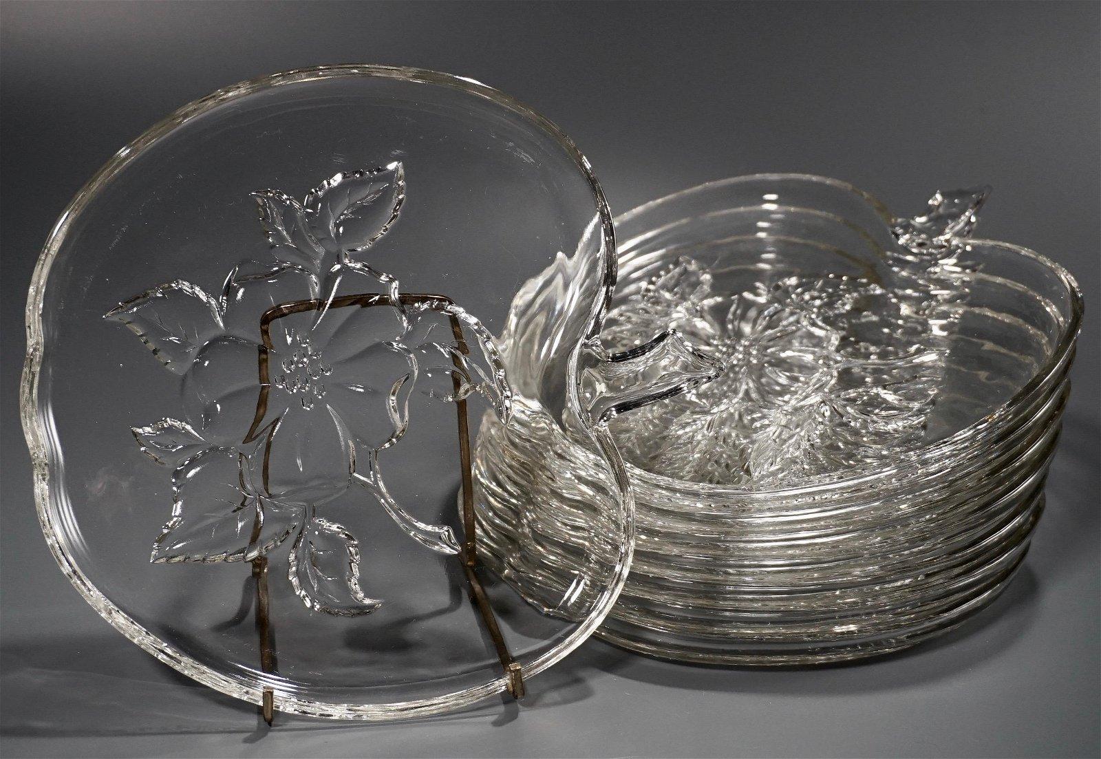 Pressed Glass Apple Dessert Luncheon Sandwich Plate