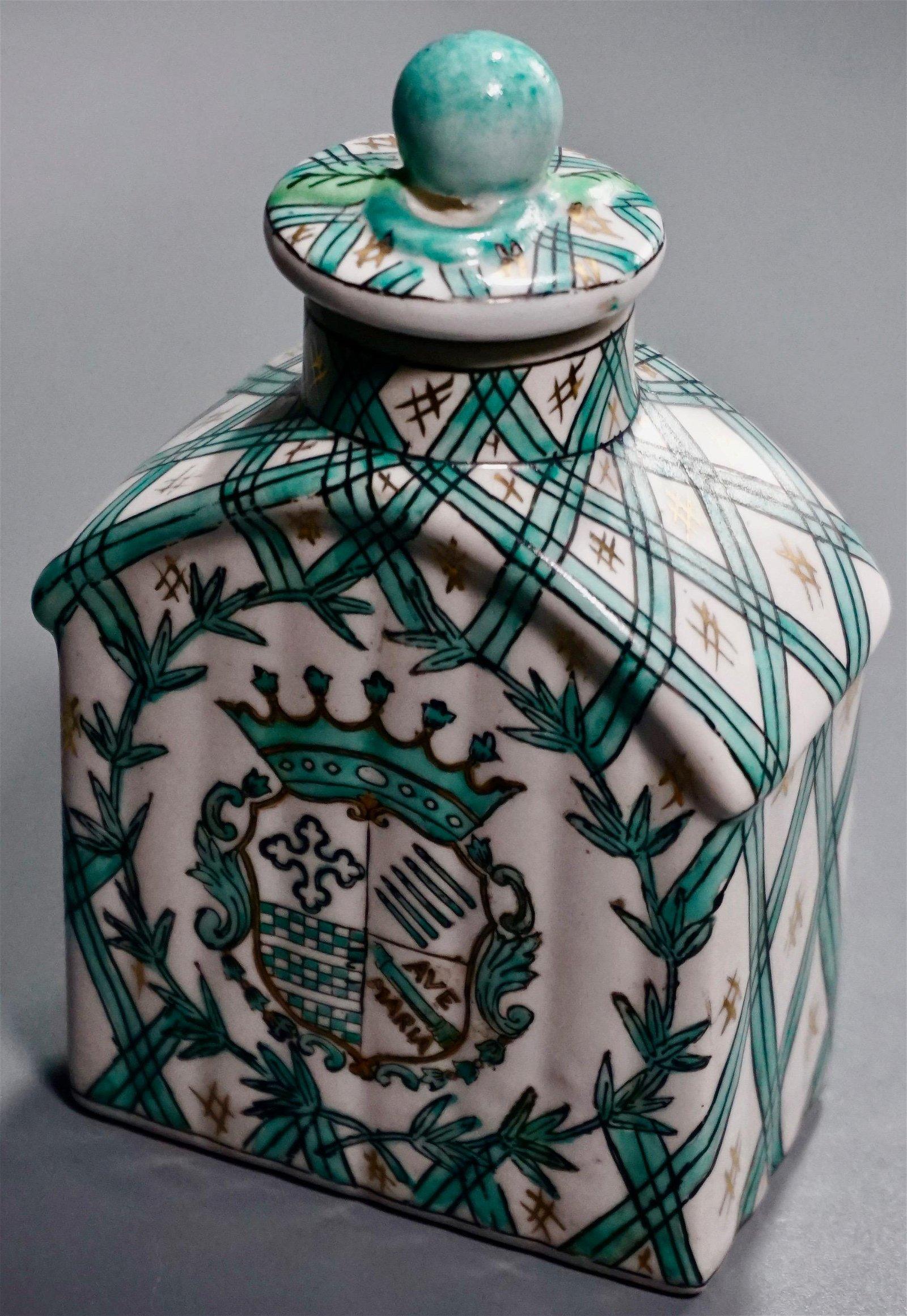 Ave Maria Crest Hand Painted Tea Caddy Flagon