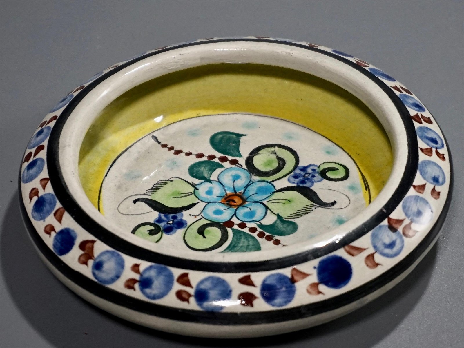Hand Painted Signed Mexican Ceramic Ashtray