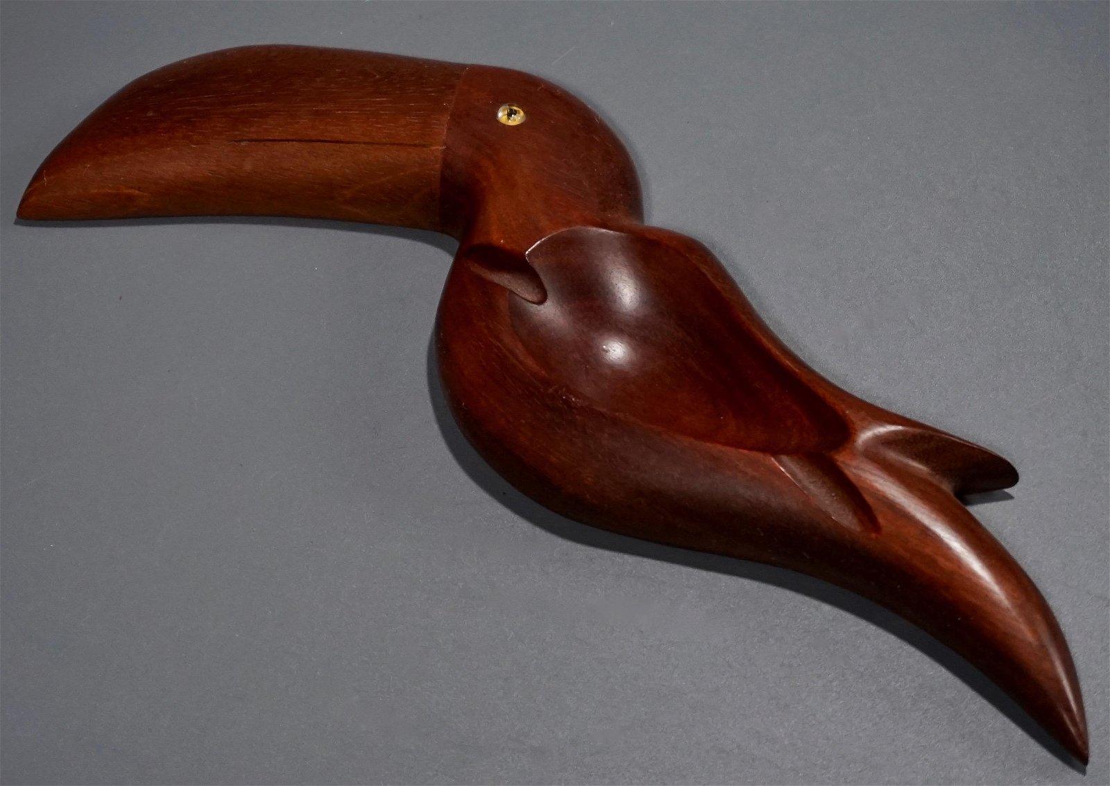 Unusual Carved Wood Exotic Bird Ashtray Glass Eye