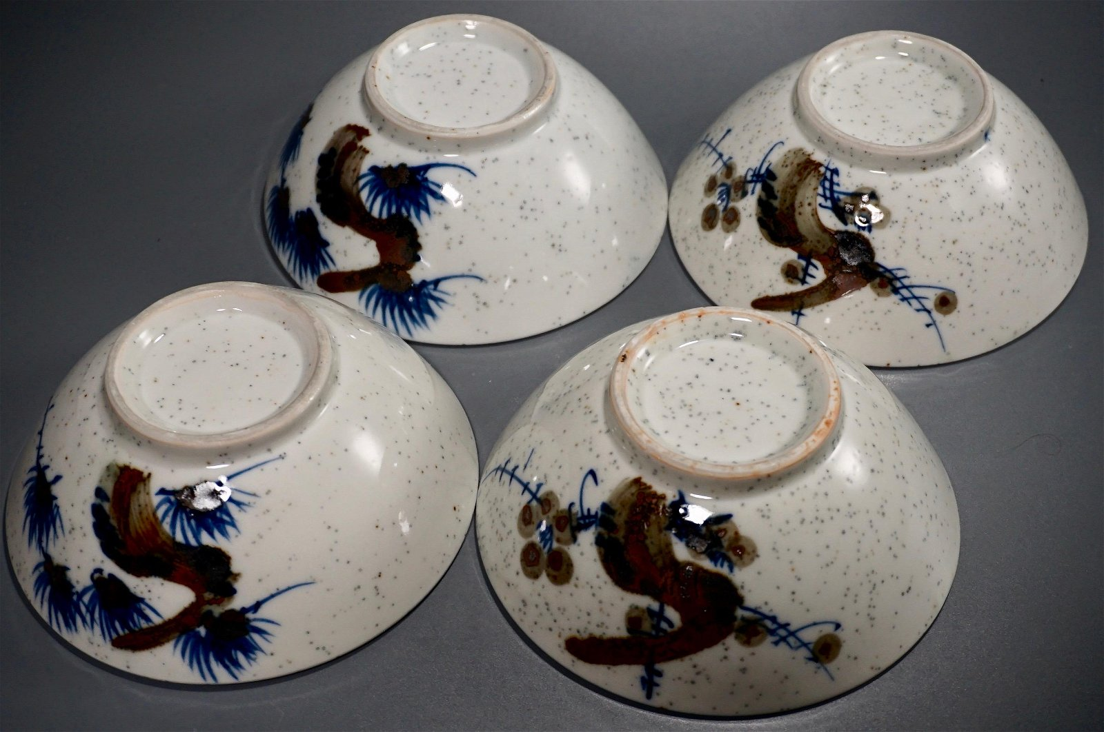 Hand Painted Granite Ware Oriental Bowls Lot of 4