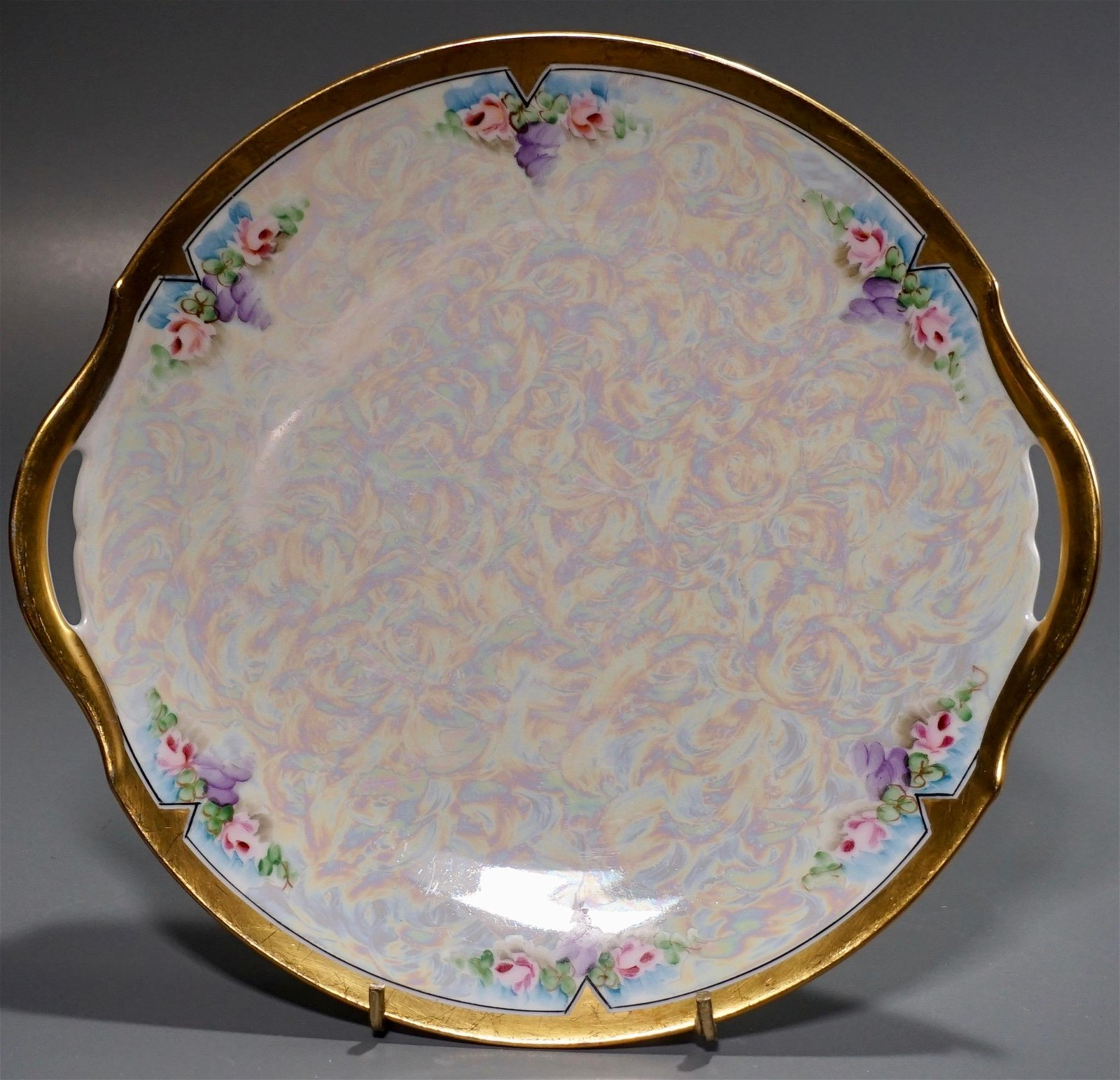 Art Nouveau Iridescent Porcelain Cake Plate Artist