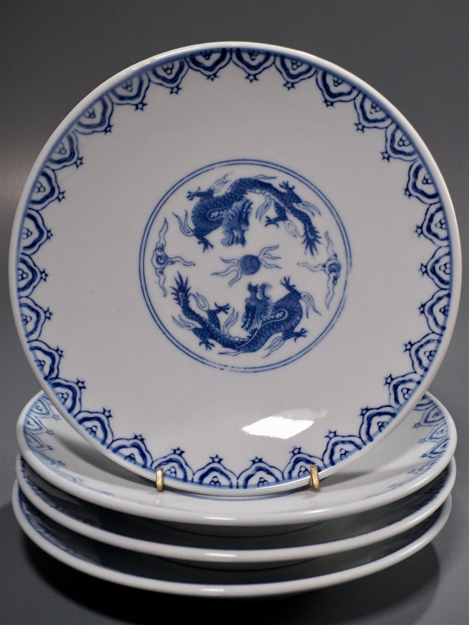 Blue and White Chinese Dragon Porcelain Plates Lot of 4
