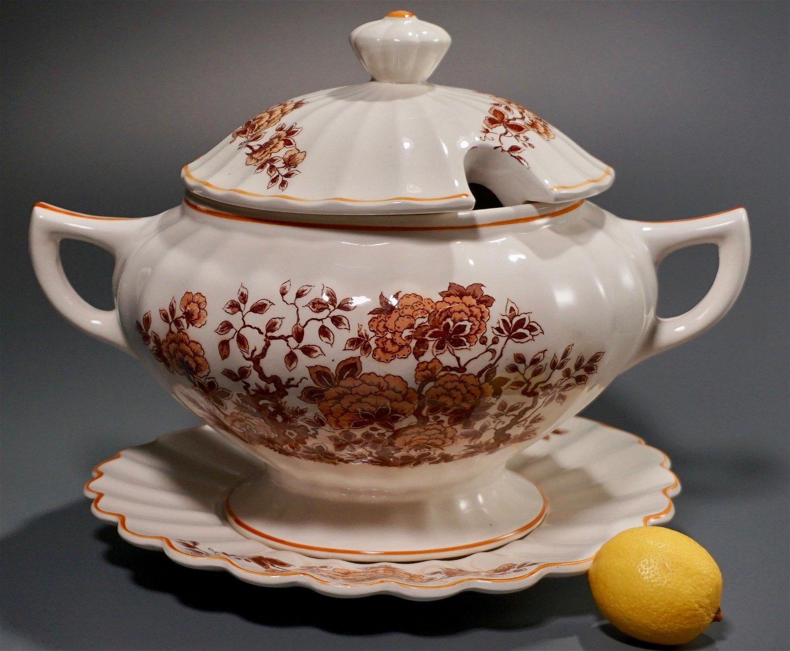 Vintage Tureen Lidded Bowl & Under Plate Platter
