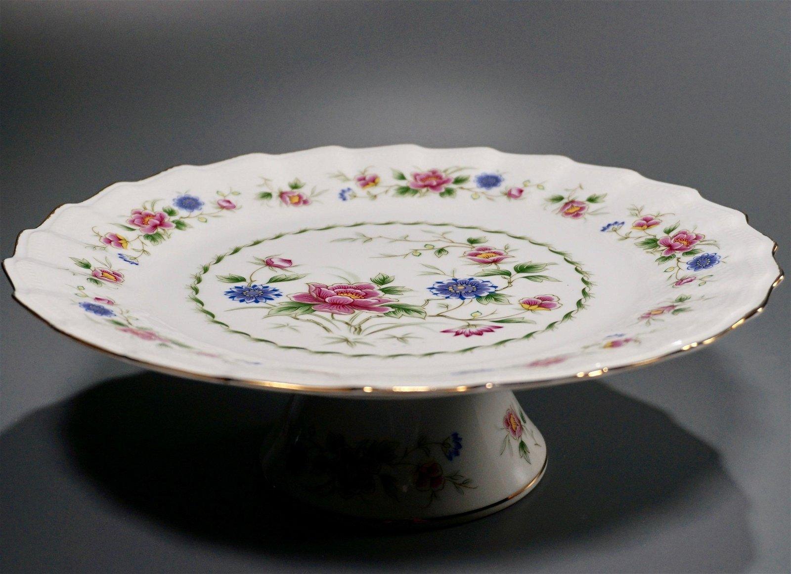 Mid Century Cake Stand Pedestal Dish Vintage Porcelain