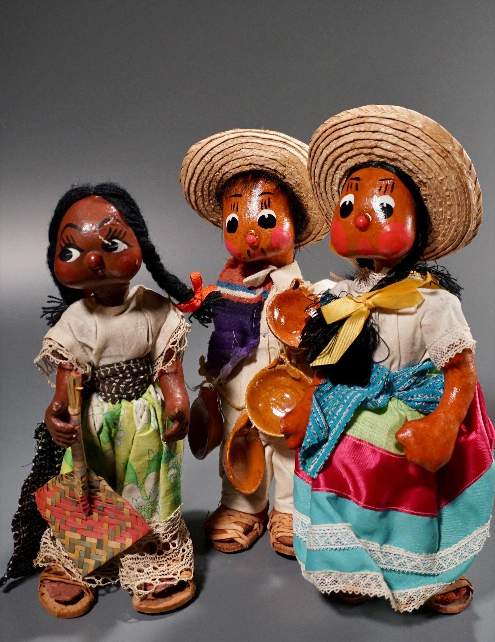 Vintage Mexican Folk Dolls Figurines Lot of 3