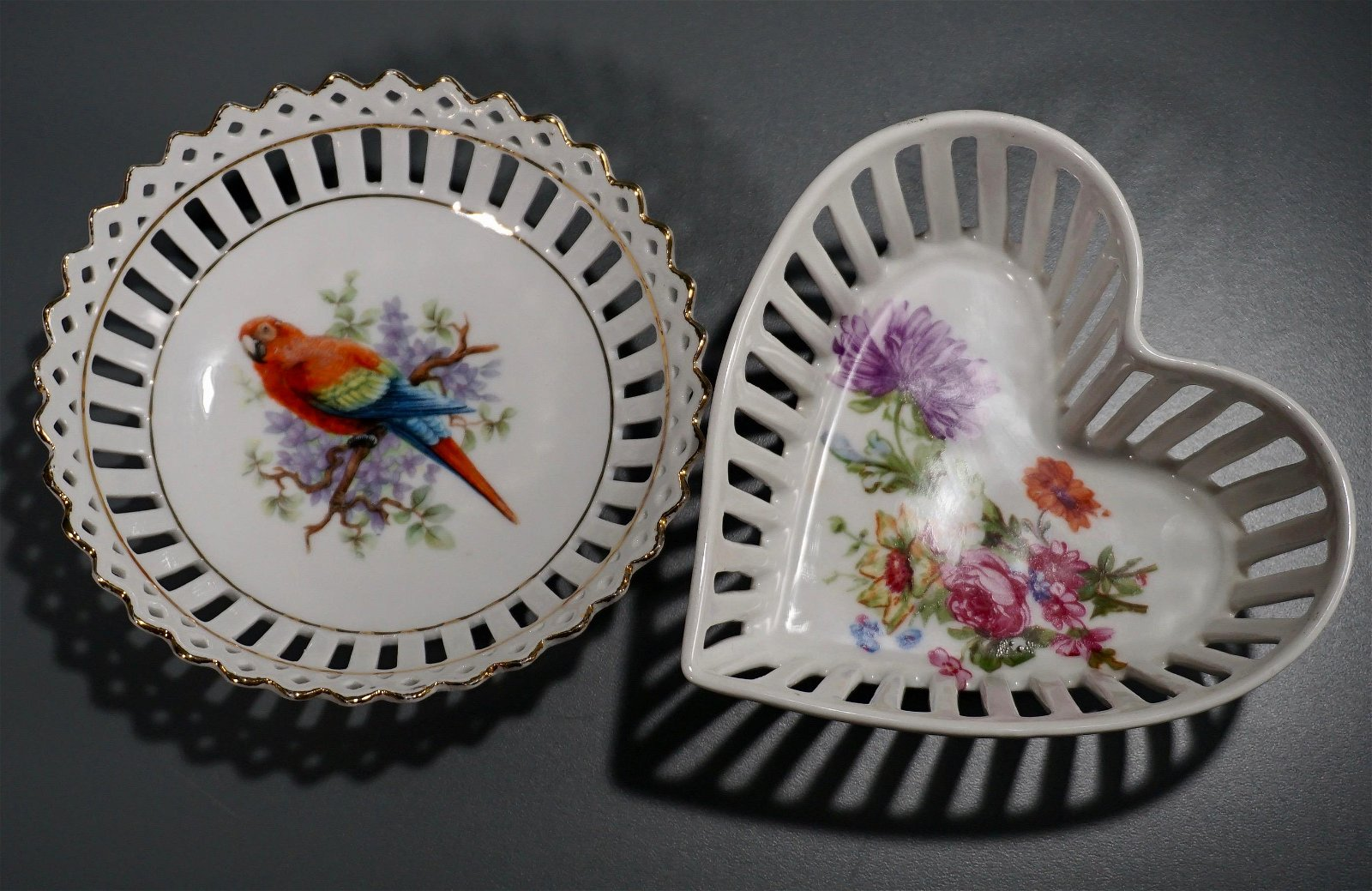 Vintage German Reticulated Porcelain Dishes Parrot Vale