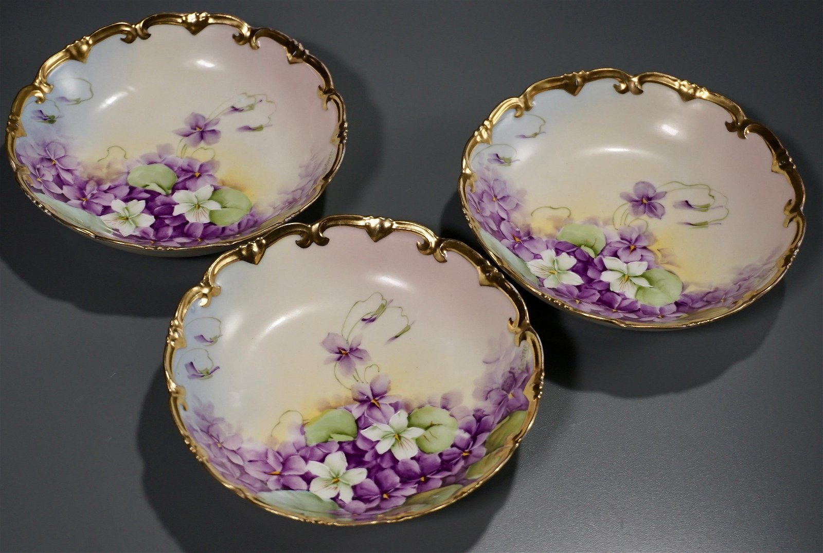 Hand Painted Vienna China Signed Bowls Forget Me Not