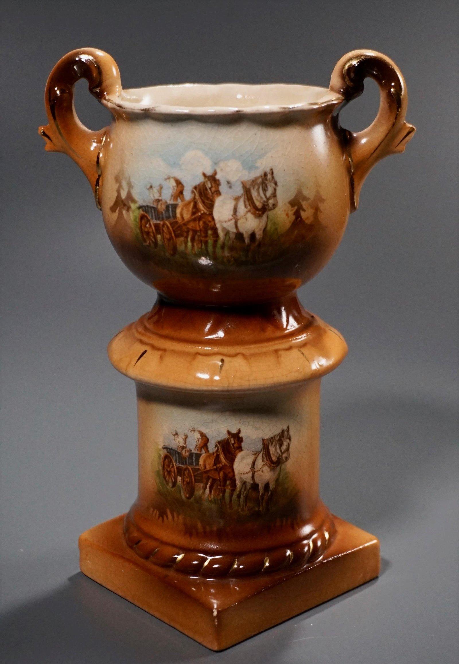 Victorian China Austrian Pedestal Urn Vase