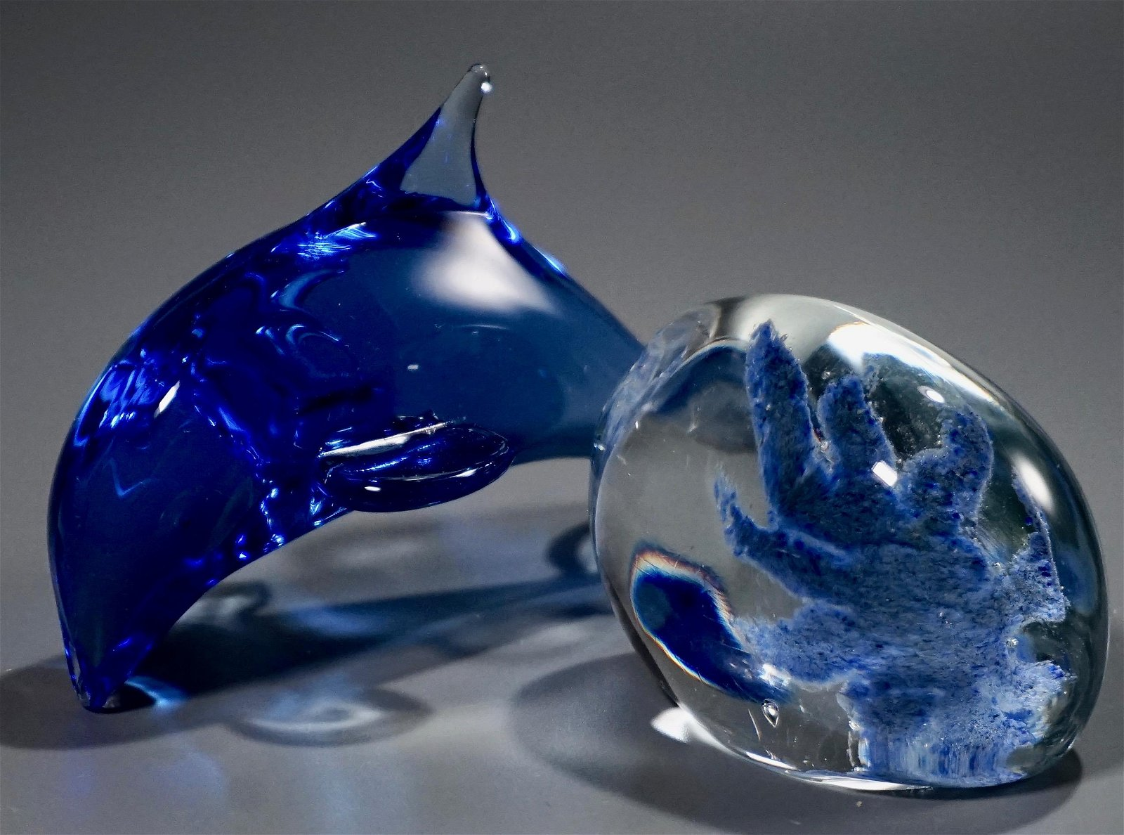 Sea Life Signed Art Glass Paperweight Blue Dolphin Lot
