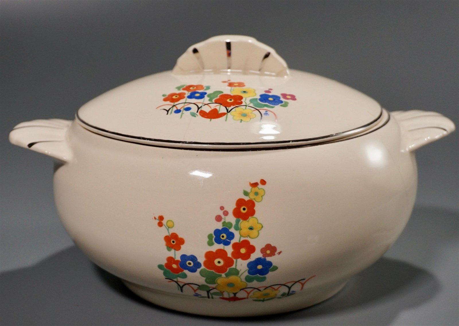 Paden City Pottery Co Vintage Art Deco Lidded Bowl
