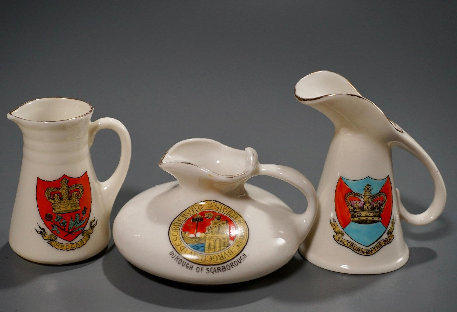 Vintage Crested China Miniature Armorial Pitchers