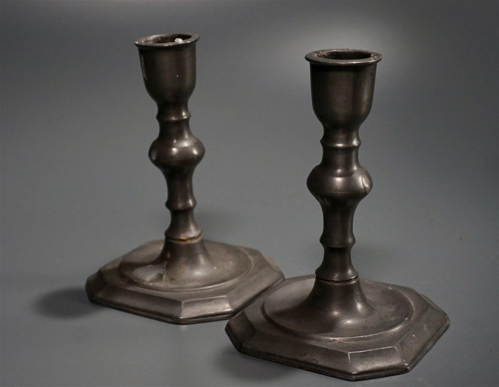 Vintage Dutch Pewter Candlesticks Pair