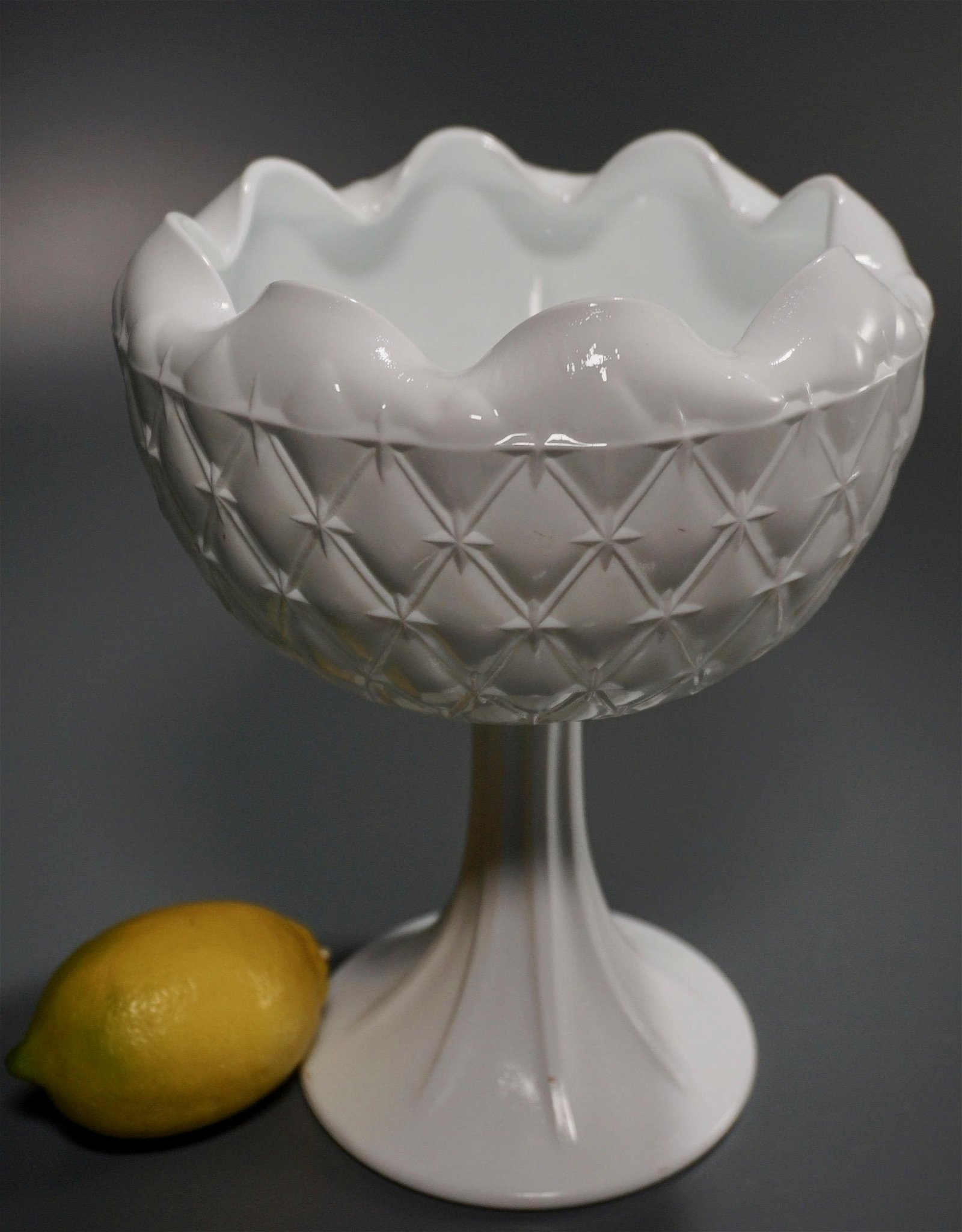 Indiana Duette Pressed Milk Glass Compote Pedestal Dish