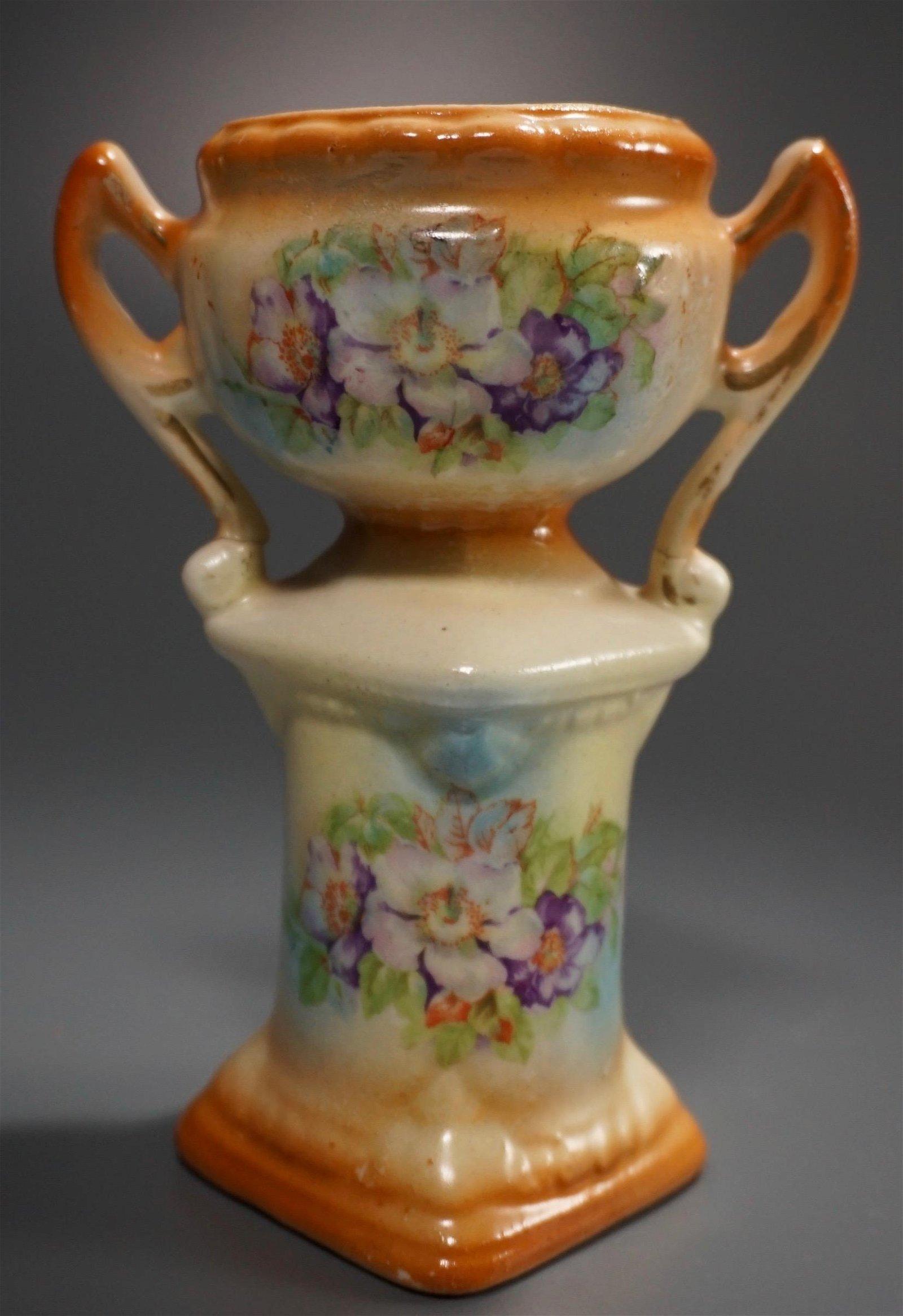Antique Czechoslovakia Hand Painted Porcelain Urn Vase