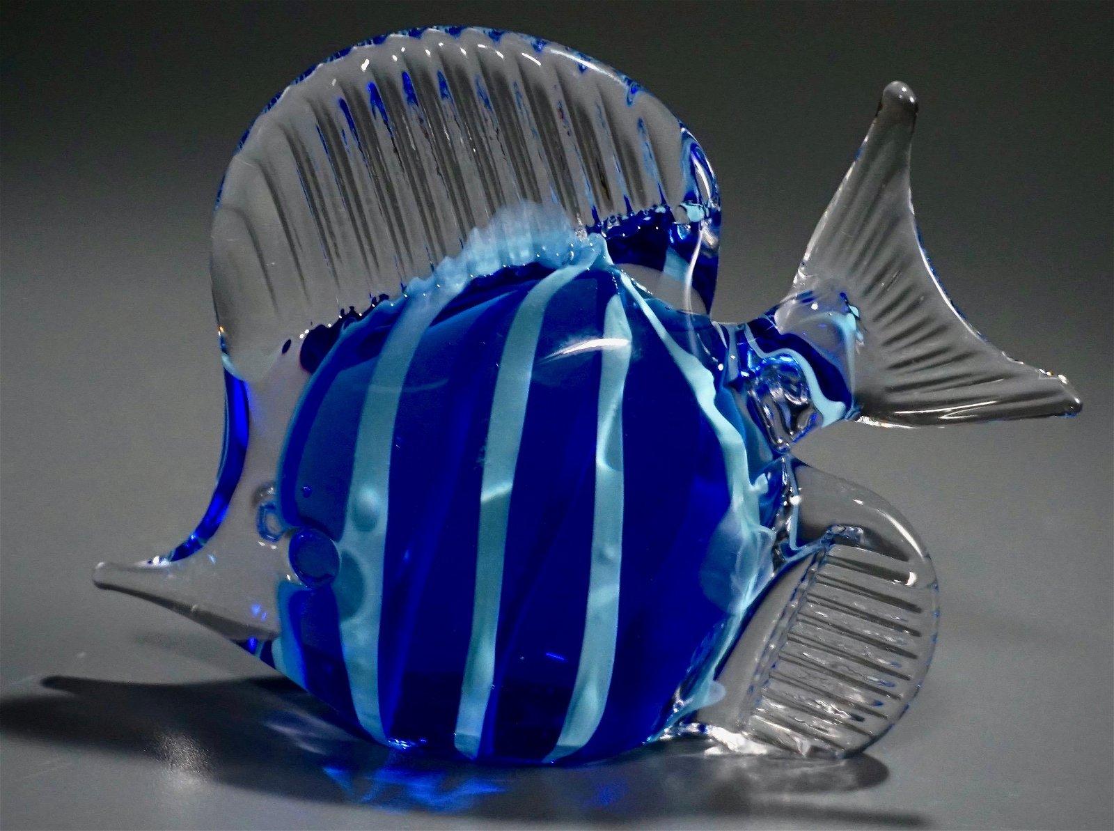 Blue Ribbon Fish Art Glass Paperweight