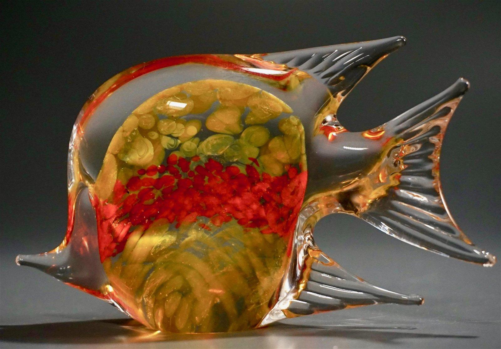 Orange Yellow Art Glass Fish Figurine Paperweight