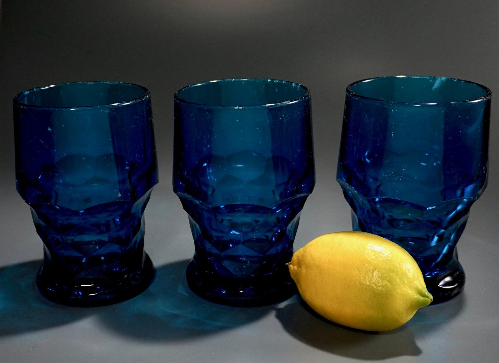 Mid Century Blue Glass Goblets Lot of 3 Cocktail